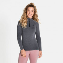 TEE SHIRT ML PERFORMANCE WARM ECO 1/2 ZIP LADY GREY MELANGE